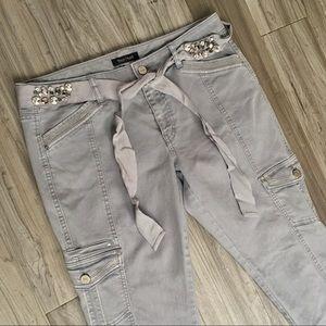 WHBM Metallic Jewel Cargo Gray Skinny Jeans